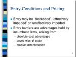 entry conditions and pricing