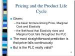 pricing and the product life cycle