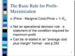 the basic rule for profit maximization