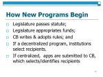 how new programs begin