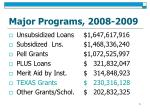 major programs 2008 2009