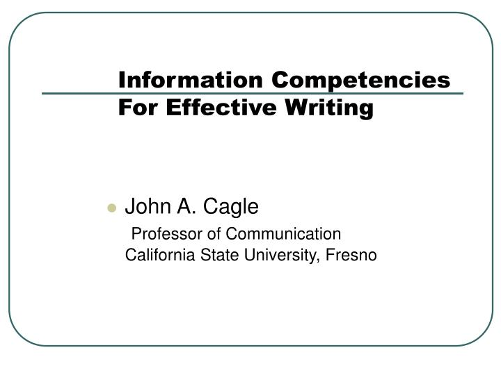 information competencies for effective writing n.