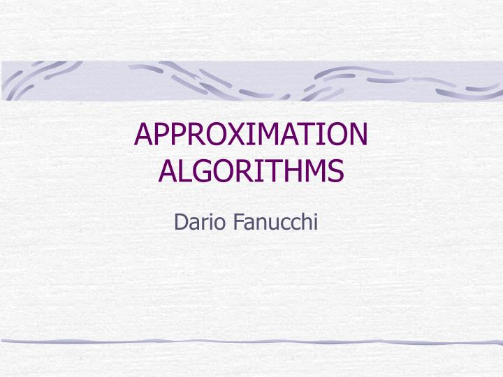 approximation algorithms n.