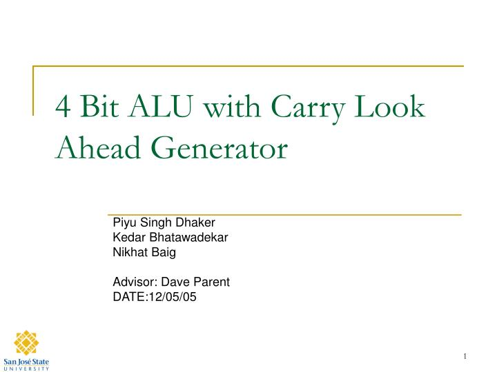 4 bit alu with carry look ahead generator n.