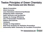 twelve principles of green chemistry paul anastas and john warner