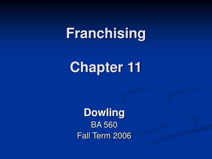 franchising chapter 11 n.