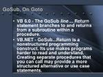 gosub on goto