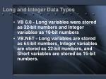 long and integer data types