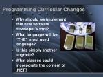 programming curricular changes
