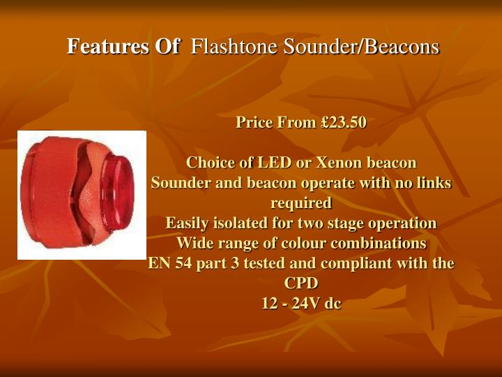 Features of flashtone sounder beacons