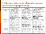 1 coherence between development planning and investment programming
