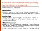 coherence between development planning and investment programming