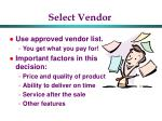 select vendor