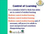 control of learning