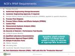ncr s ppap requirements
