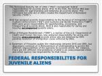 federal responsibilites for juvenile aliens