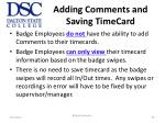 adding comments and saving timecard
