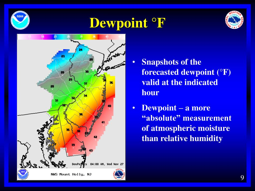 Snapshots of the forecasted dewpoint (°F) valid at the indicated hour