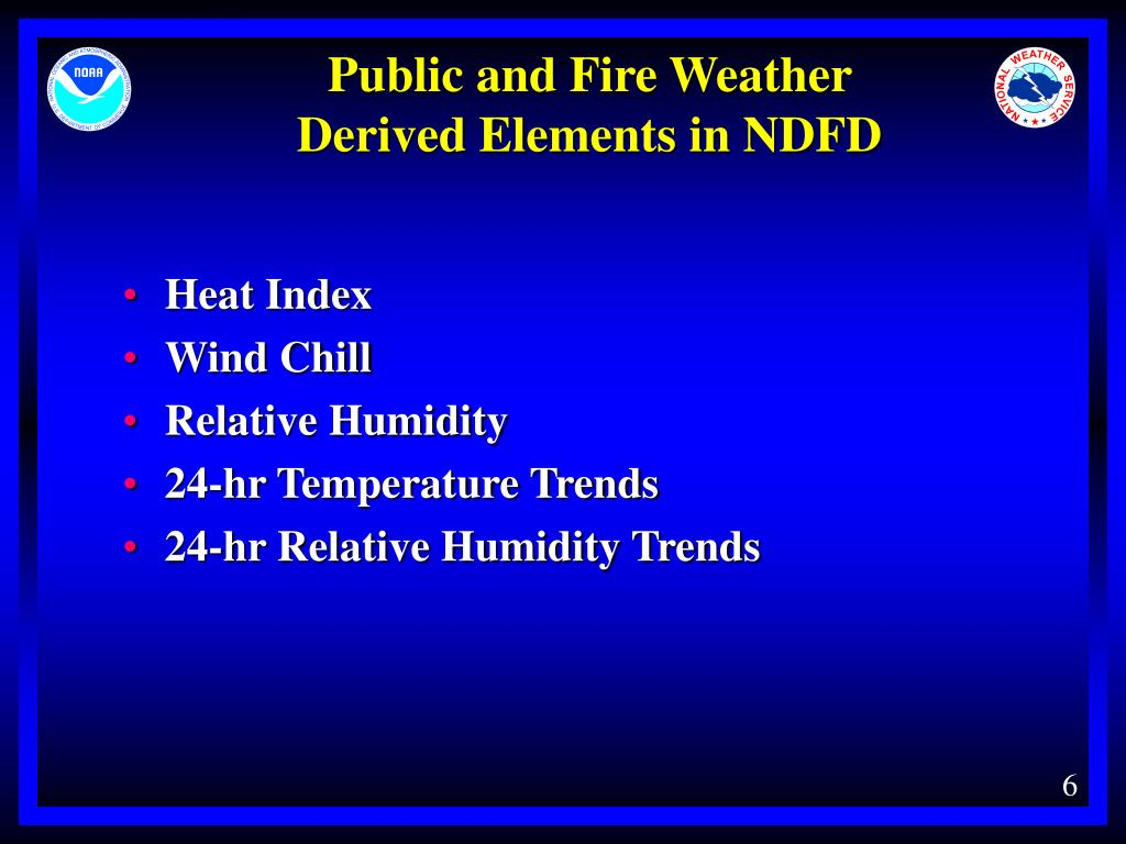 Public and Fire Weather         Derived Elements in NDFD