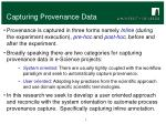 capturing provenance data
