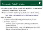 community data evaluation