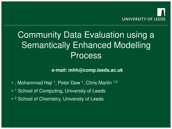 community data evaluation using a semantically enhanced modelling process n.