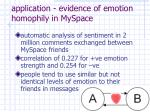 application evidence of emotion homophily in myspace