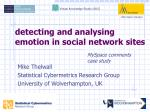 detecting and analysing emotion in social network sites