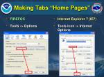 making tabs home pages