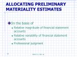 allocating preliminary materiality estimates