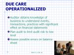 due care operationalized