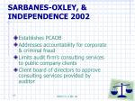 sarbanes oxley independence 2002
