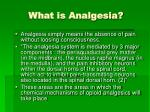 what is analgesia