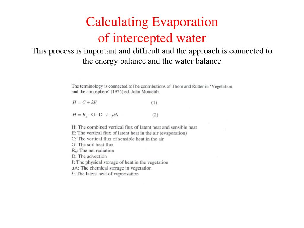 Calculating Evaporation