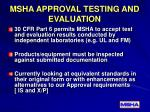 msha approval testing and evaluation