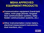 msha approved equipment products