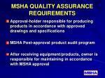 msha quality assurance requirements