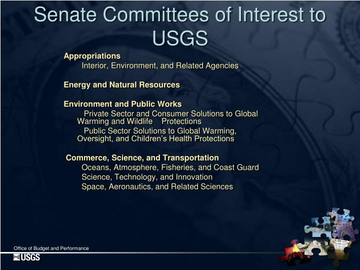 Senate Committees of Interest to USGS