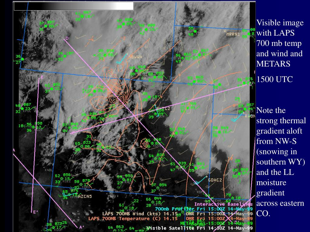 Visible image with LAPS 700 mb temp and wind and METARS