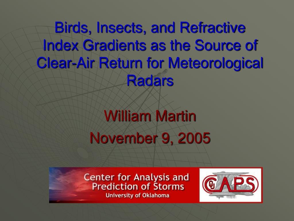 Birds, Insects, and Refractive Index Gradients as the Source of Clear-Air Return for Meteorological Radars