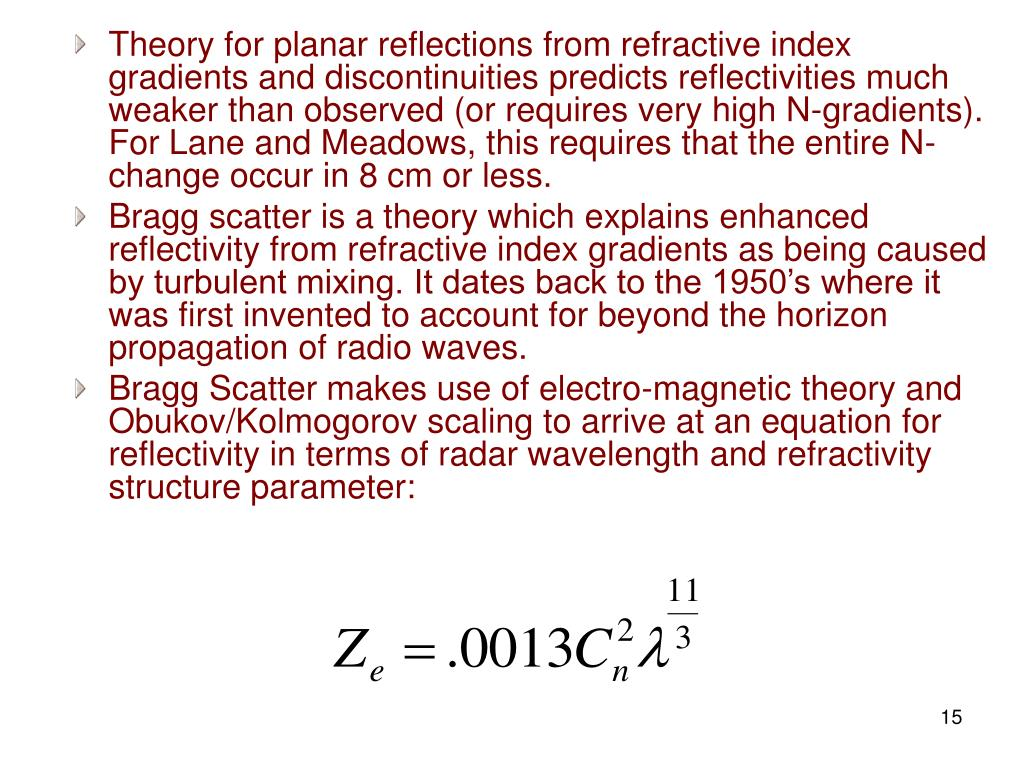 Theory for planar reflections from refractive index gradients and discontinuities predicts reflectivities much weaker than observed (or requires very high N-gradients). For Lane and Meadows, this requires that the entire N-change occur in 8 cm or less.