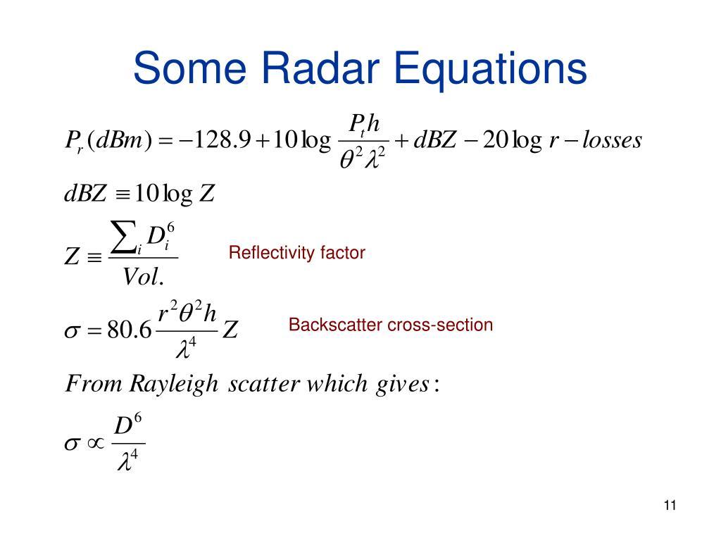 Some Radar Equations