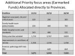 additional priority focus areas earmarked funds allocated directly to provinces1