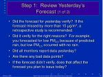 step 1 review yesterday s forecast 1 of 3