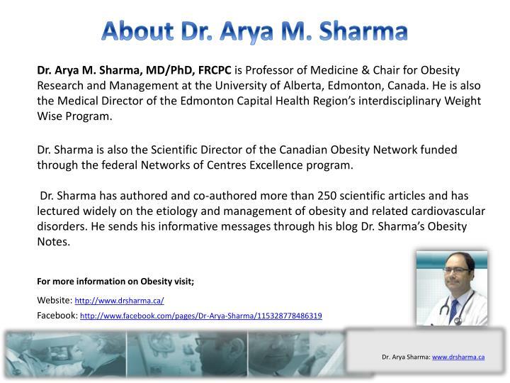 About Dr. Arya M. Sharma