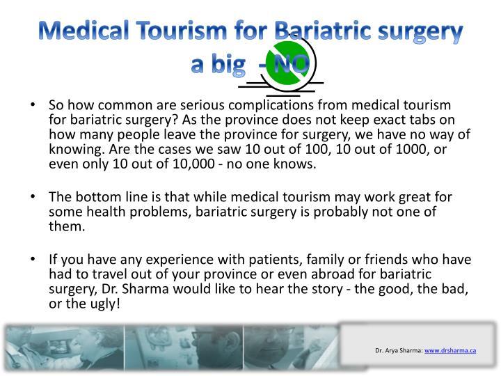 Medical Tourism for Bariatric surgery a big  - NO