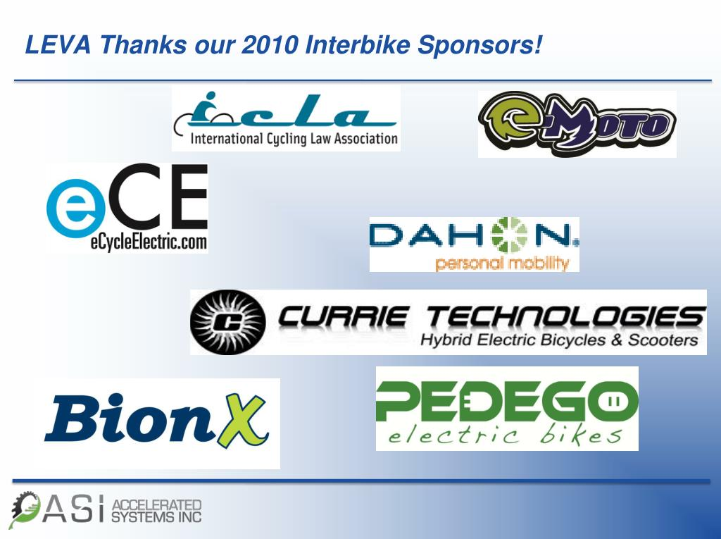 LEVA Thanks our 2010 Interbike Sponsors!