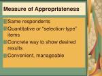 measure of appropriateness