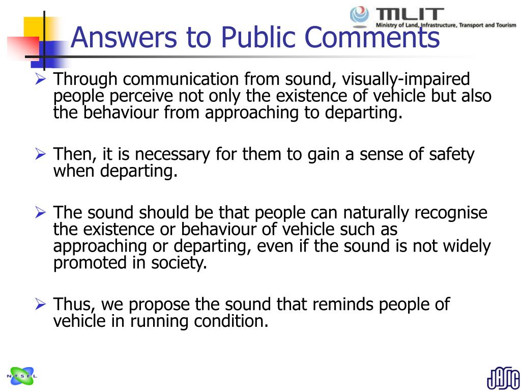 Answers to Public Comments