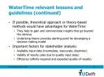 watertime relevant lessons and guidelines continued